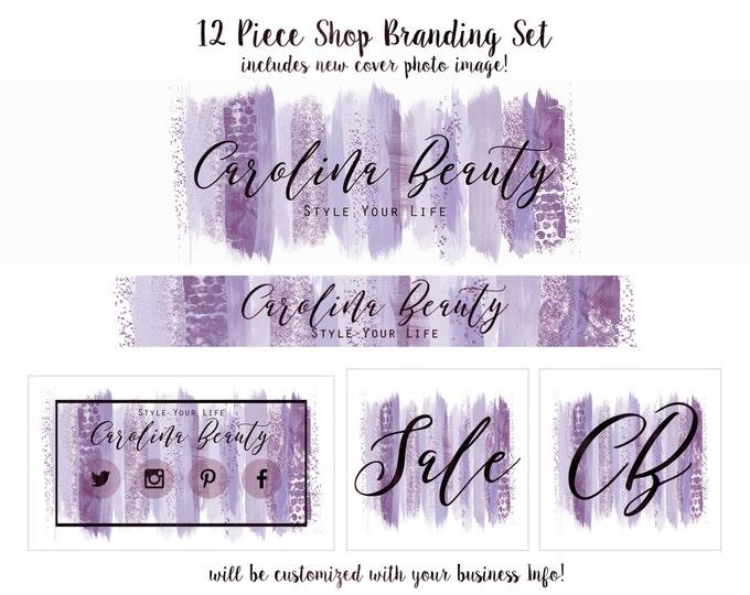 Purple WATERCOLOR BRUSH STROKES Etsy Shop Set- Choose Your Font- Cover Photo Banner Logo Business Card Purple & Blue Feminine Paint Strokes