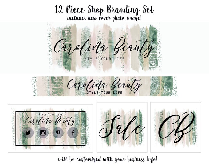 WATERCOLOR BRUSH STROKES Branding Package -Choose Your Font -Cover Photo Etsy Shop Set Banner Logo Business Card Peach Mint Paint Strokes