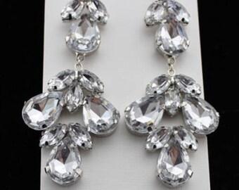 Simple Elegant Classic Clear Crystal Chandelier Earrings Bride Bridal 2 1/2 Inches