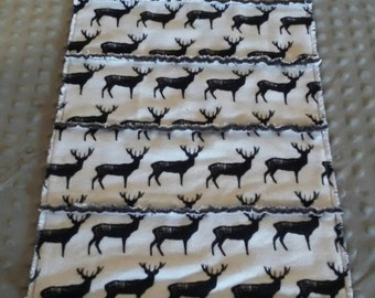 Deer table runner, buck table linens, cabin, lodge, rustic decor, rag table runner, table decorations, hunting
