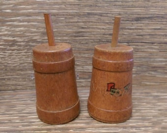 Vintage Wooden Butter Churn Salt and Pepper Shakers Niagara Falls, NY