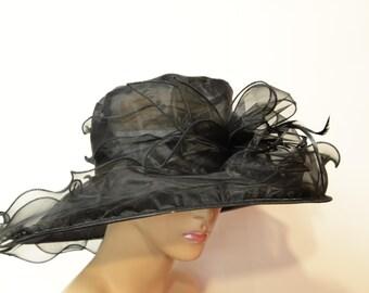 Black organza Kentucky Derby Hat, Church hat, Tea Party Hat, Formal Hat, Easter Hat, Derby Hat, Wedding Hat, Funeral Hat