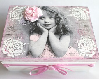 Birthday gift, gift for her, mixed media box, room decor, gift for girls, keepsake box, wooden box, home decor, decoupage box, present ideas