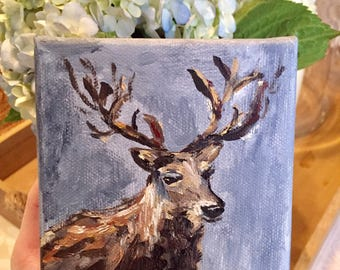 Oh Deer 4x4 Oil Painting