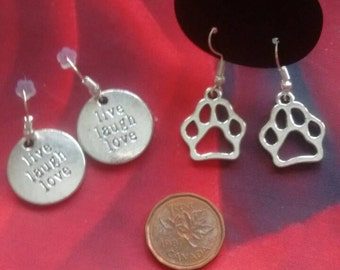 Paw earrings, inspirational earrings, statement jewelry, dog jewelry, cat earrings, dangle paw prints, live laugh love, never ever give up