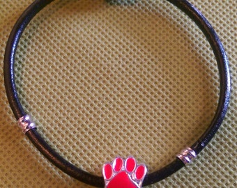 Leather Charm Bracelet with Dog Paw Charm