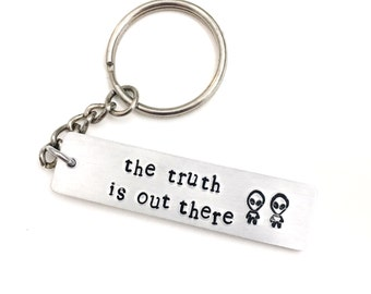 X Files Inspired Hand Stamped Aluminum Keychain | keyring | truth is out there | trust no one | i want to believe | geekery | nerdy | alien