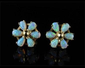 Opal Cluster Gold Stud Earrings 1.20ct