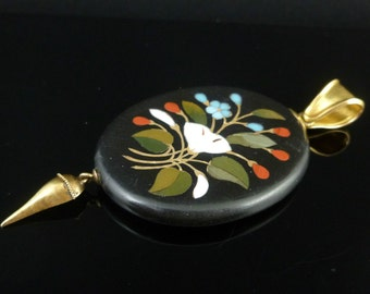 Large Pietra Dura Gold Pendant With Gold Tassle Drop Circa 1860