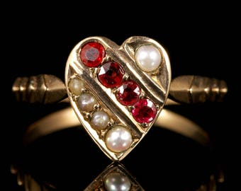 Antique Victorian Ruby Pearl Heart Ring