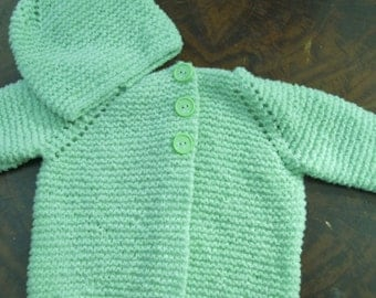 3-6 month green handknit cardigan and hat