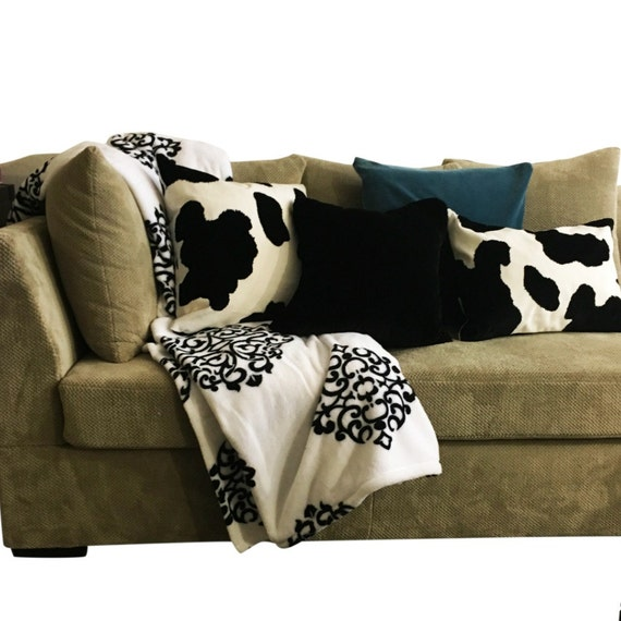 black and white long pillow or lumbar couch pillow for. Black Bedroom Furniture Sets. Home Design Ideas