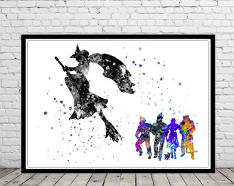The Wizard of Oz inspired, Wicked Witch, Poster, Watercolor Print, Home Decor, Kids Room Decor, Watercolor Painting, Poster (385bb)