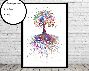 Tree rooted, watercolor tree rooted, watercolor tree, tree art, tree rooted, tree root, watercolor tree art (3134b)