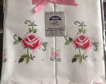 Vintage Heritage Rose Embroidered pillowcases