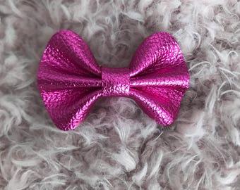 Hot Pink Metallic Ella Genuine Leather Bow on clip or headband
