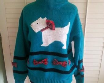 vintage sweater, vintage jumper, vintage 1980's jumper, vintage 1980's green jumper, vintage dog sweater, 1980's sweater, A1