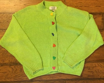 Lime Green Cardigan with Multicolor Buttons