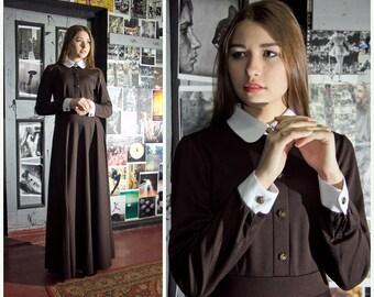 White Collar Dress +4 color Classic Elegant Long dress New Brown Peter Pan Collar Maxi dress