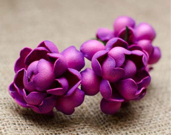 Hot Pink Roses Foam Flowers 6 pcs Wedding Flower Jewelery making Supplies Miniature Fucsia Flowers