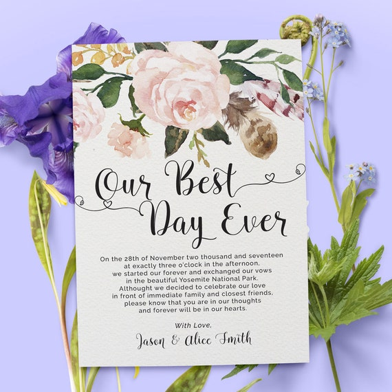 Wedding Gifts For Couples Who Eloped : Elopement Announcement Cards, Wedding Announcement Cards, Printed and ...