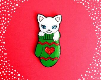 Kitten in a Mitten - Limited Edition enamel pin