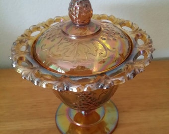 Vintage Indiana Glass Harvest Gold Compote with Lid