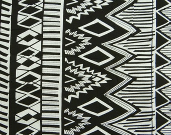 "Apparel Fabric, Home Decor, Black Retro Print, Cotton Fabric, Sewing Craft, Dressmaking Fabric, 42"" Inch Fabric By The Yard ZBC7141A"