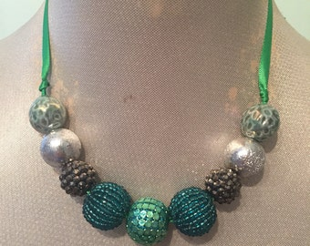 Black Silver and Green Beaded Ribbon Necklace / Choker