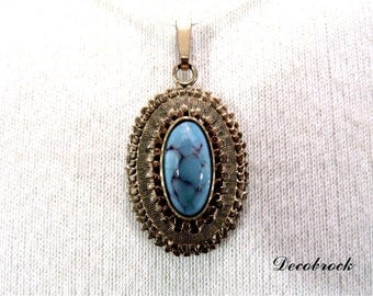 Vintage pendant with turquoise set vintage Paris France jewelry vintagefr gift for her fashion mothers day