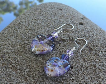 Purple Heart Earrings, Purple Glass Earrings, Lampwork Hearts, Lavender Earrings