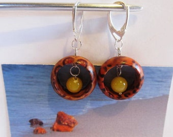 Wooden wood ring Earrings 4.4 gr. Natural baltic amber round beads yellow egg yolk butterscotch silver color French clasp, adult Chandelier