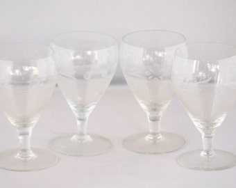 SALE! Etched Cordial Glasses, Set of 4