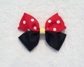 Disney Hairbow, Minnie Mouse Hairbow, Disney Baby Hairbow, Disney Ribbon Hairbow, Skinny Nylon Headband, Baby Headband, Girl Hairclip