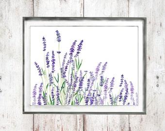 Botanical Print  watercolor painting watercolor flower watercolor art blue purple  lavender wall art nature art digital download