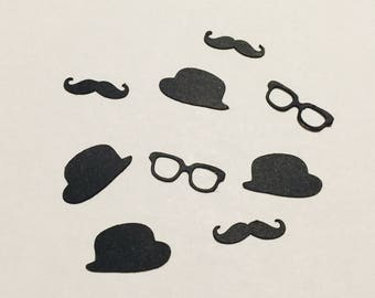 Bachelor Confetti, Mustache die cuts, Glasses die cuts, Hat die cuts, Wedding Party decirstion, Bachelor Decoration