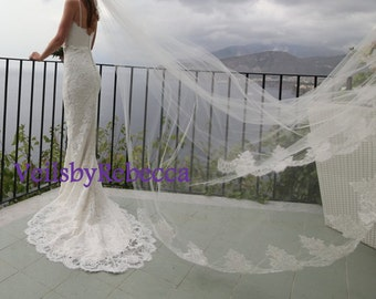 1 tier cathedral wedding veil with lace trim,Alencon lace cathedral veil,cathedral wedding veil,lace bottom veil, partial lace veil V633