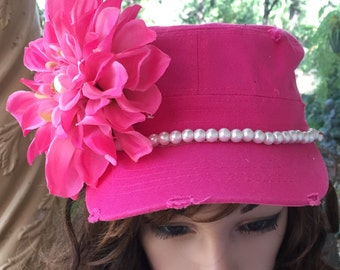 Pink Sabby  Chic Flat Top Hat with Pink Flower and a White Pearl Band