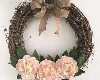 Felt flower wreath, felt flower grapevine wreath, blush felt flowers, grapevine wreath