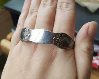 Silver flatware pressed bracelet