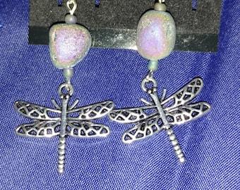 Dragon Fly Druzy Earrings