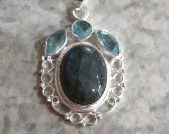 Labradorite and Blue Topaz Pendant Necklace