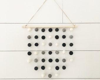 Wildwood Wall Hanging - Stormy Nights - Felt Ball Garland - Hanging Wall Decor - Nursery Decor - Monochrome Nursery Decor