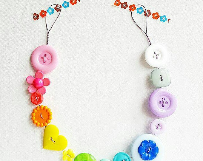 pastel rainbow button bunting