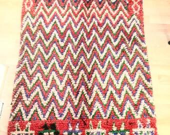 Unique Boucherouite Moroccan Rug