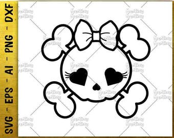 Sugar Skull SVG Cute Love sugar skull svg  tee design cut cuttable cutting files Cricut Silhouette Instant Download vector SVG png eps dxf