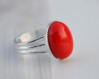 Red coral ring, Coral ring, Ring red coral cabochon, Red coral silver ring, Ring coral, Silver plated coral ring, Oval cabochon coral ring.