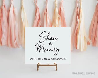Share a Memory graduation Sign, Share a Memory Printable,  Printable graduation Signs, Graduation party decorations printable signs