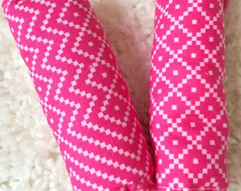 Pretty Pink Reversible Strap Covers, Car Seat Strap Covers, Neck Strap Covers for Baby Car Seats, Seat Belt Covers for Car Seats