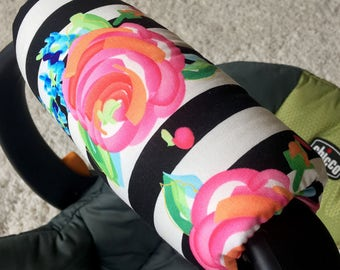 Watercolor Floral Stripe Arm Pad for Infant Car Seat Handle, Floral Arm Pad, Modern Arm Cushion for Car Seat Handle, Baby Shower Gift